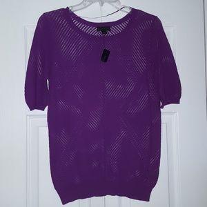 Worthington purple t-shirt, sheer NWT